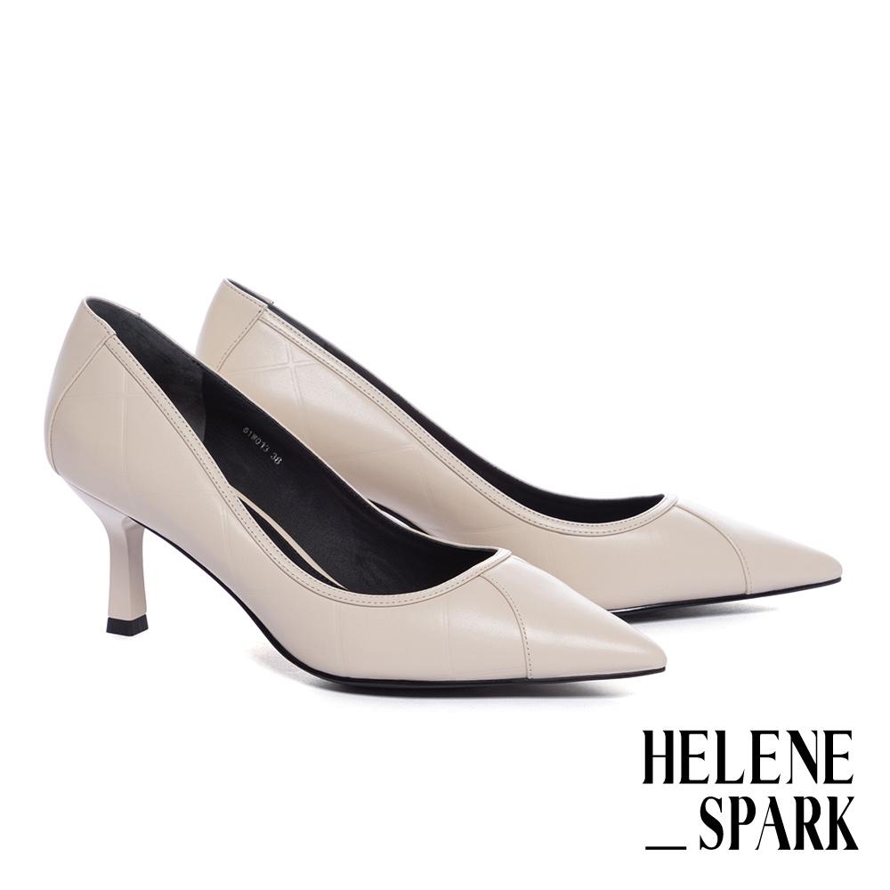 高跟鞋 HELENE SPARK 簡約時尚方格壓紋牛皮尖頭高跟鞋-米