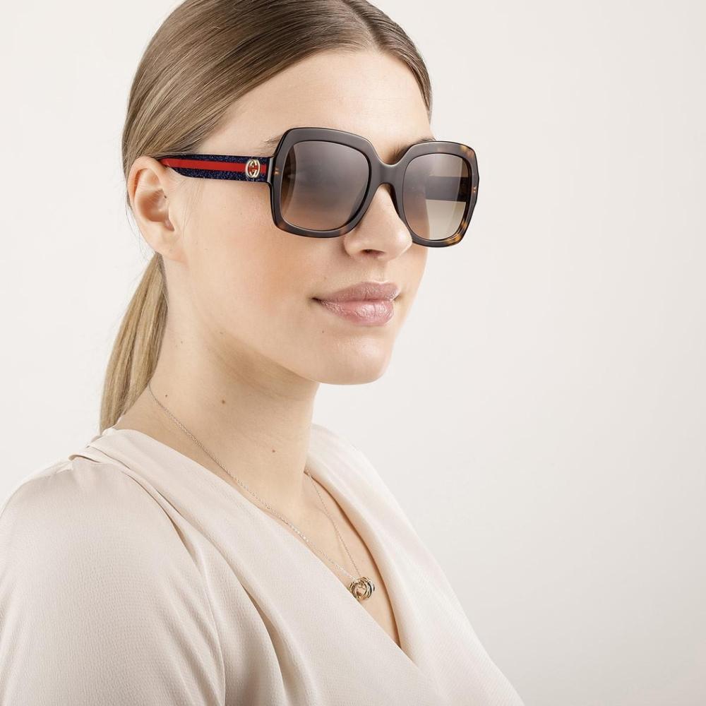 GUCCI 太陽眼鏡 大方粗框款/深琥珀 #GG0036S 004