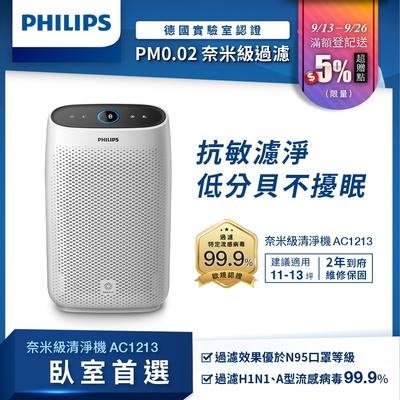 [送5%超贈點] PHILIPS飛利浦 舒眠抗敏空氣清淨機 AC1213 低分貝 臥室首選