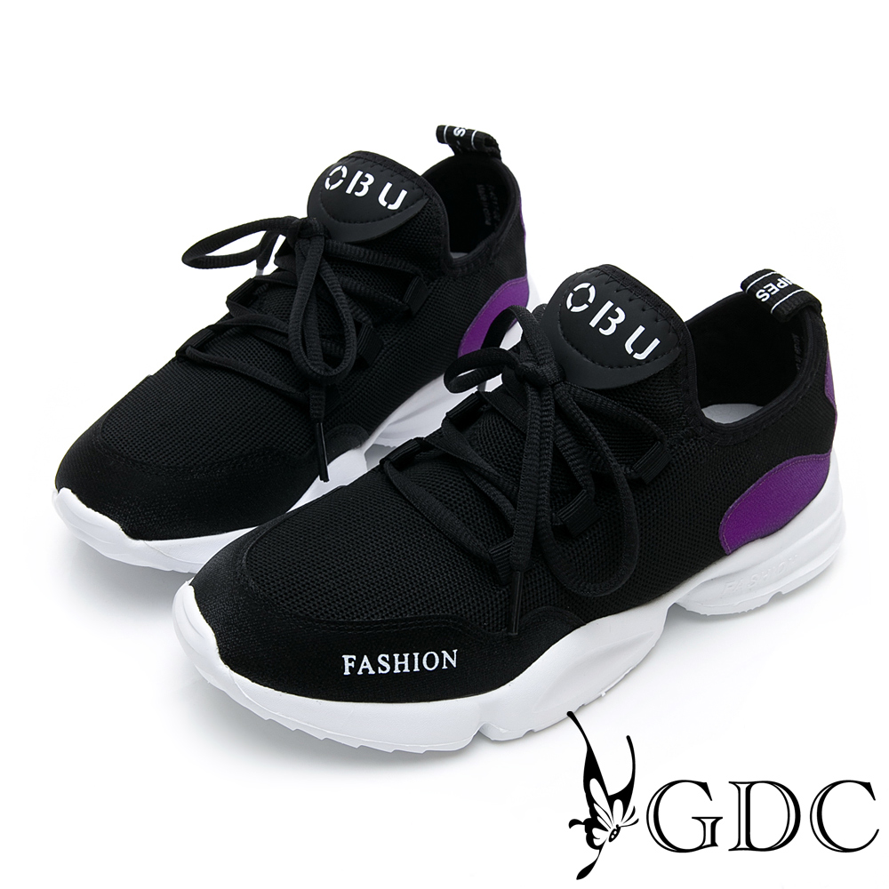 GDC-未來感英文字母運動綁帶舒適休閒鞋-黑色
