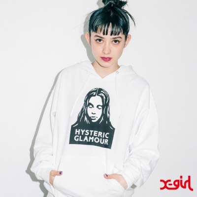 X-girl × HYSTERIC GLAMOUR FACE SWEAT聯名連帽上衣-白