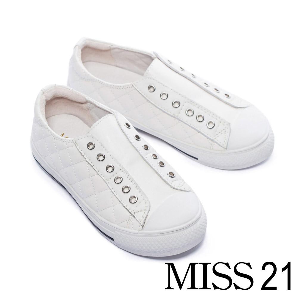 休閒鞋 MISS 21美式休閒菱格紋無鞋帶全真皮休閒鞋-白