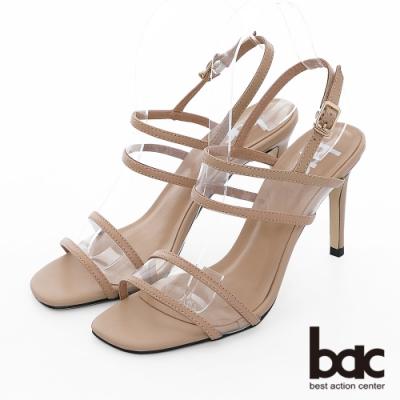 【bac】紐約不夜城 - 異材質拼接PVC透明感細跟高跟涼鞋-杏色