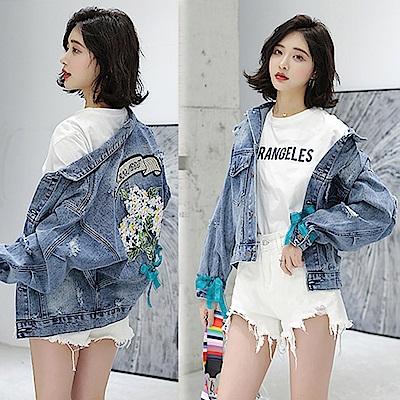 【韓國K.W.】丹寧刺繡花朵外套