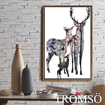 TROMSO北歐風尚板畫有框畫-麋鹿家庭40X60CM