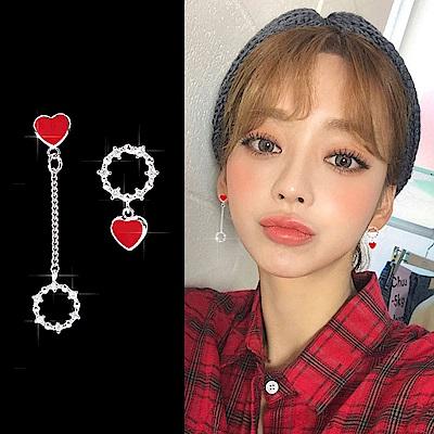 梨花HANA  韓國925銀越來越愛你愛心小巧耳環