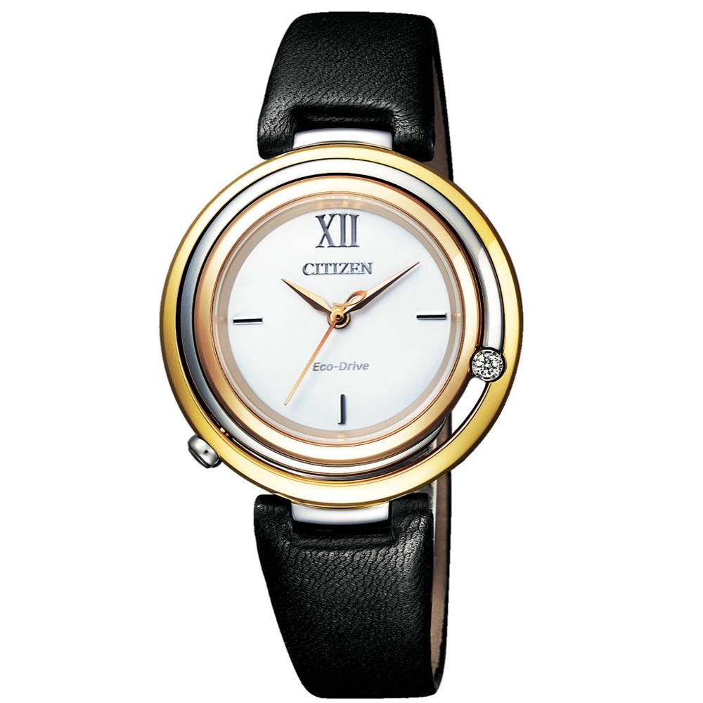 CITIZEN 星辰L系列優雅鑽石光動能腕錶(EM0656-15A)