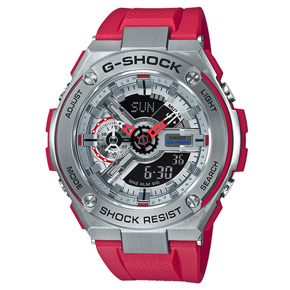G-SHOCK  絕對強悍武士分層防護概念休閒(GST-410-4)紅x黑面/52.4mm