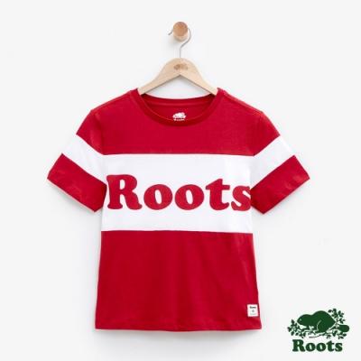 ROOTS女裝 短版色塊拚接短袖T恤-白