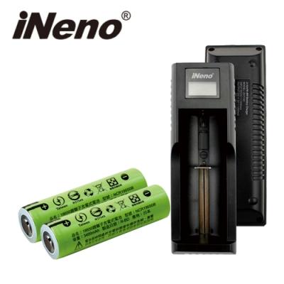 iNeno-3400mAh凸頭 18650鋰電池2入組+LED鋰電池充電器
