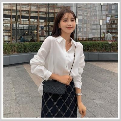 襯衫 翻領質感透明長袖白襯衫RJ6007-創翊韓都