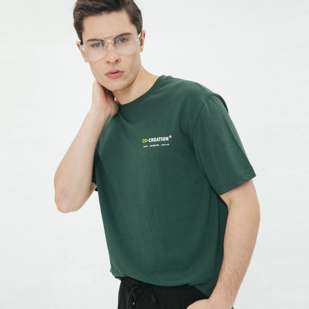 Hang Ten - 有機棉-簡約撞色logo棉短T - 綠