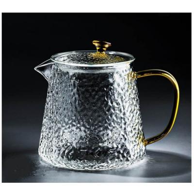 原藝坊    手工口吹錘紋玻璃沖茶壺 (方菱款)贈錘紋杯子兩入(快)