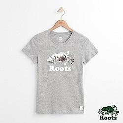 女裝Roots 海狸露營短袖T恤-灰色
