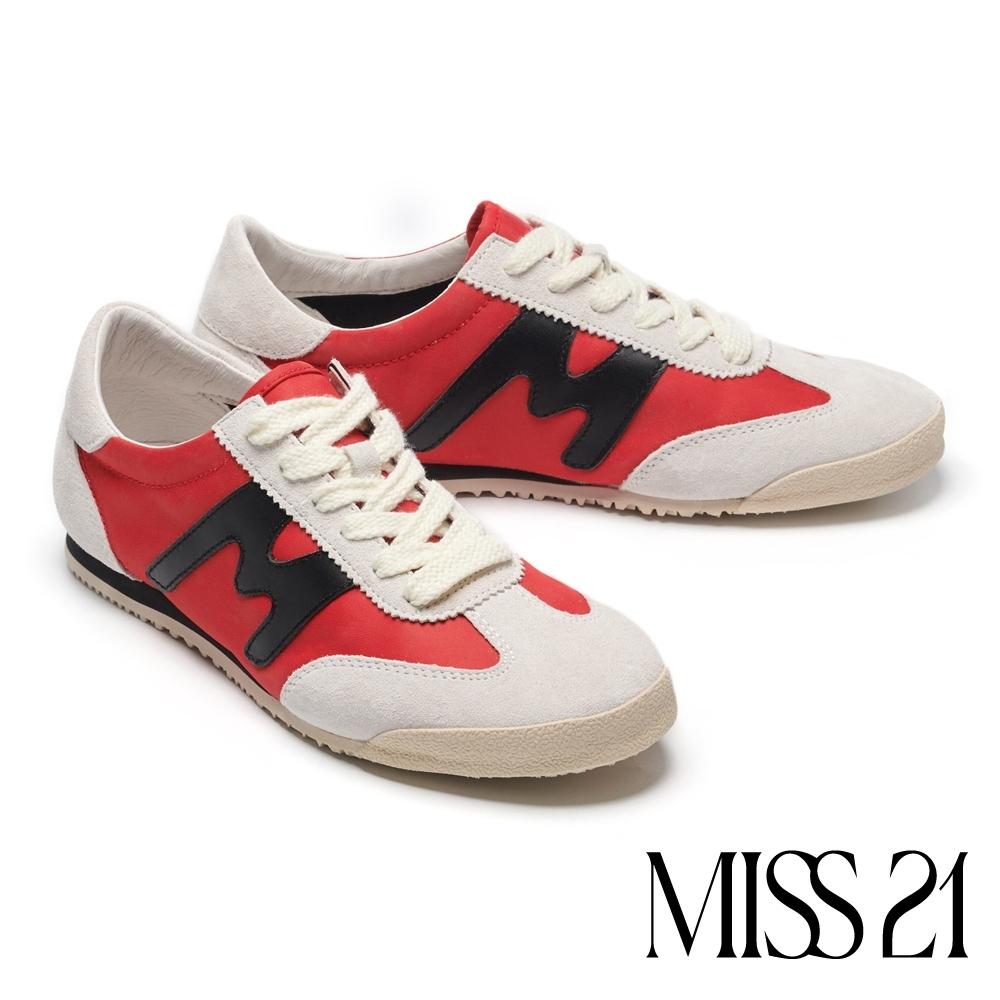 休閒鞋 MISS 21 復古色塊拼接綁帶厚底休閒鞋-紅