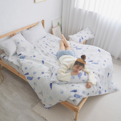 BUHO 天然嚴選純棉4.5x6.5尺單人被套(自由藍語)