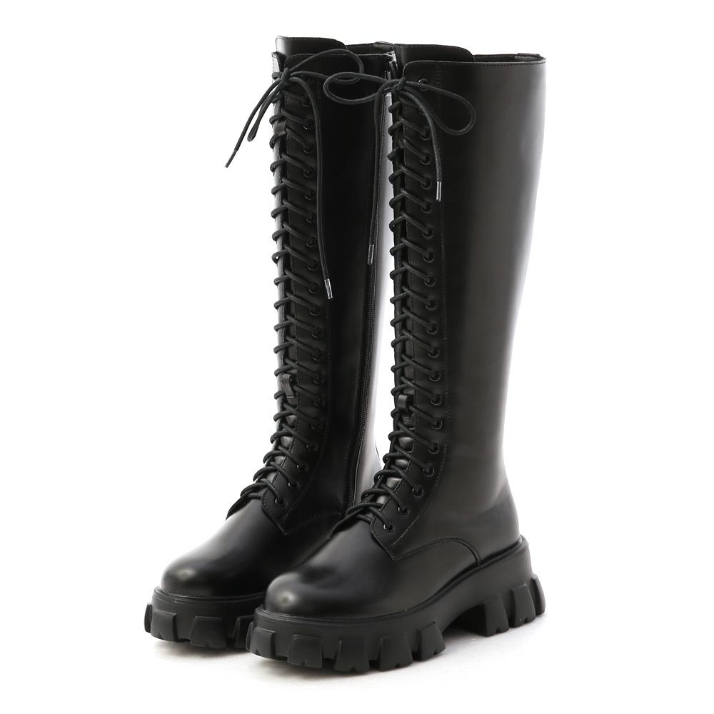 D+AF 霸氣魅力.鋸齒底綁帶馬汀長靴*黑