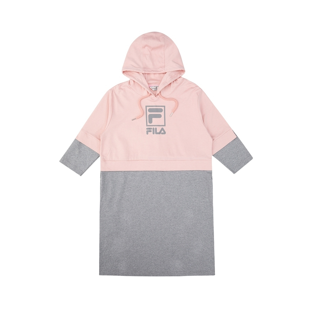 FILA #架勢新潮 女長袖連帽T恤-粉/灰 5TEV-1422-PK