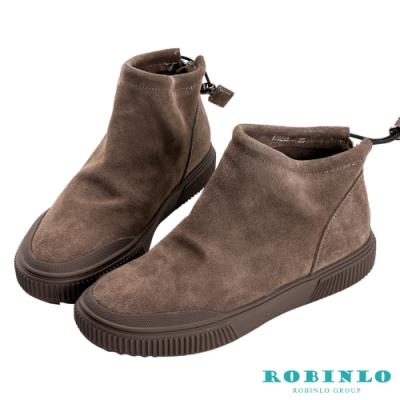 Robinlo 簡約素面絨布拉鍊短靴 棕色