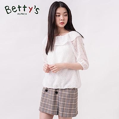 betty's貝蒂思 格紋排釦造型質感短裙(咖啡色)