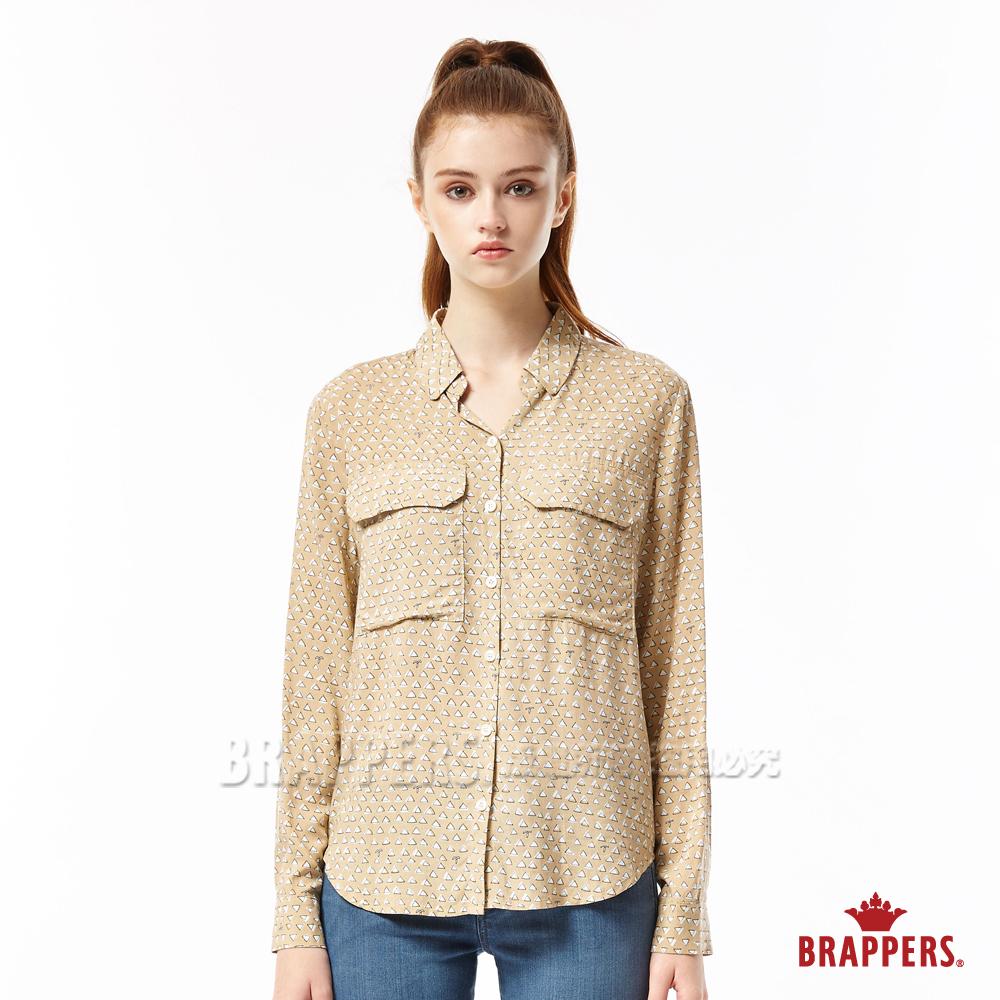 BRAPPERS 女款 雙口袋印花長袖襯衫-淺卡其