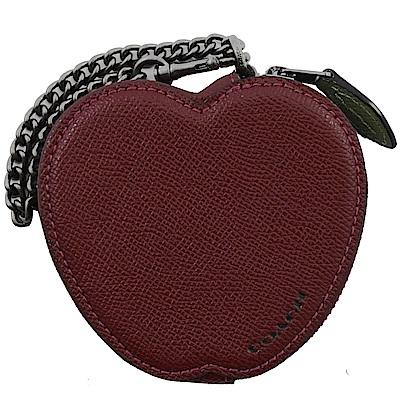 COACH 可愛造型防刮牛皮零錢包(蘋果)