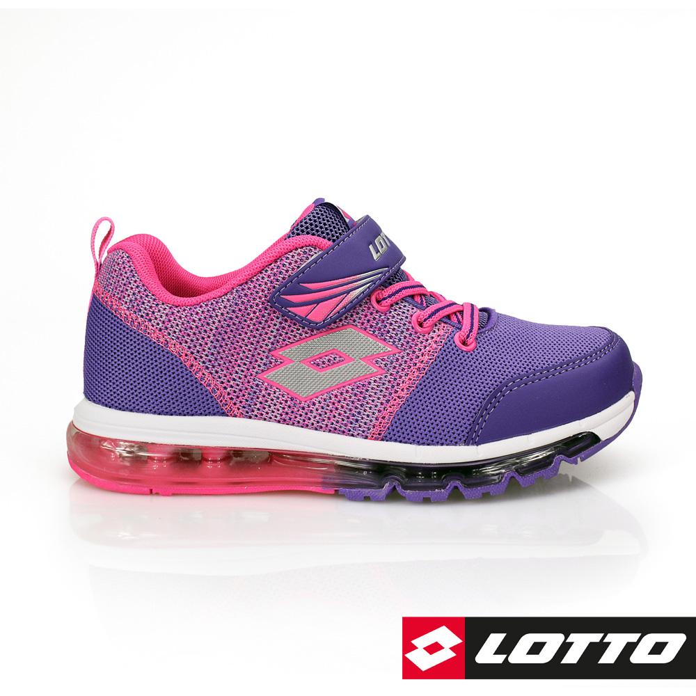 LOTTO 義大利- 童FUN KNIT 全氣墊編織跑鞋 (紫)