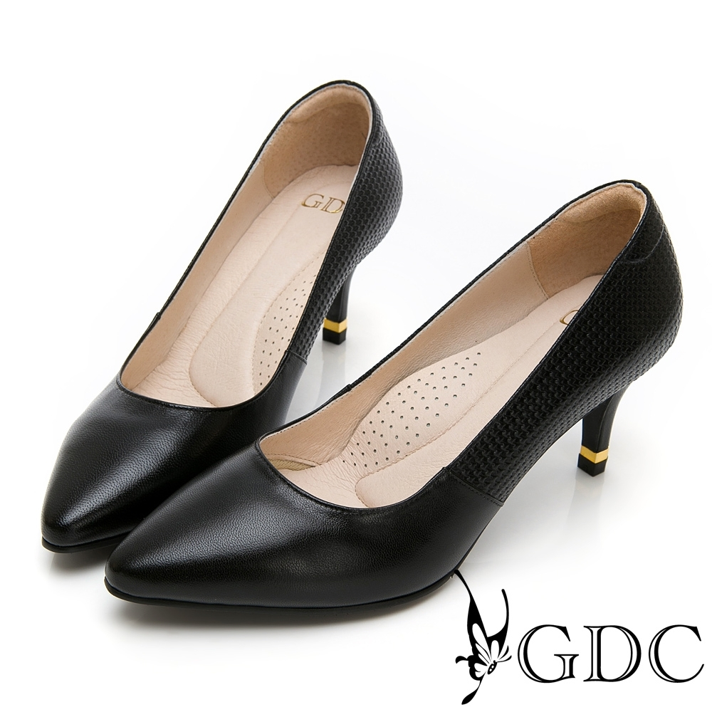GDC-真皮基本經典尖頭上班中跟鞋-黑色