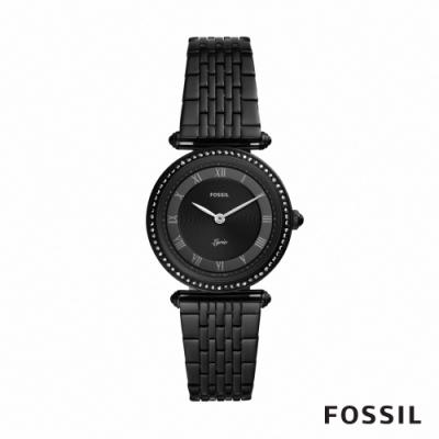 FOSSIL LYRIC 詩意流韻圓形鍊帶女錶-黑色 32MM ES4713