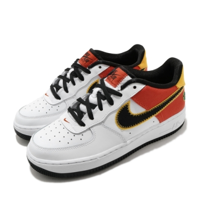 Nike 休閒鞋 Air Force 1 LV8 運動 女鞋 經典 AF1 皮革 簡約 外星人 大童 白 橘紅 DD9530100