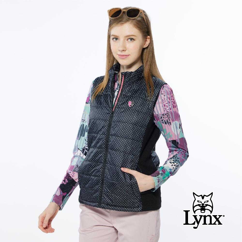 Lynx Golf】女款防潑水保暖鋪棉防風幸運草印花無袖可收納連帽背心-黑色