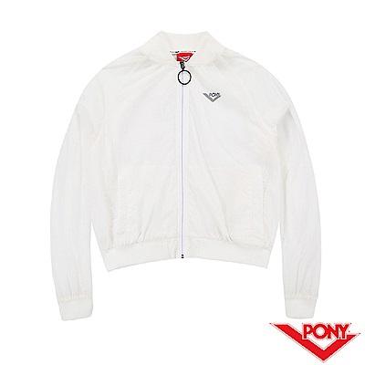 【PONY】運動風格透明感運動罩衫外套-女-白
