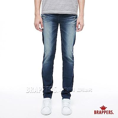 BRAPPERS 男款 HM-中腰系列-中腰彈性輕磨破直筒褲-藍