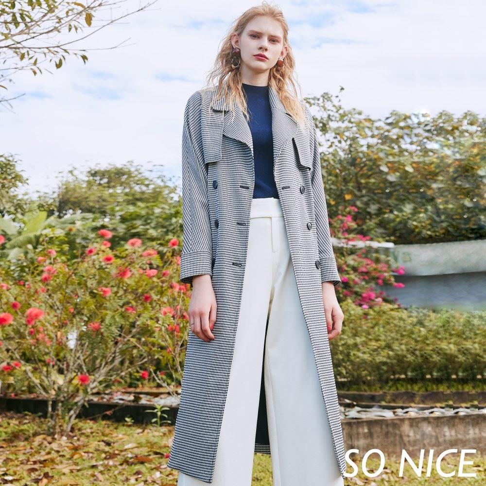 SO NICE經典維希格紋2way風衣外套