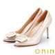ORIN 時尚名媛 真皮金屬方型釦飾尖頭高跟鞋-粉色 product thumbnail 1