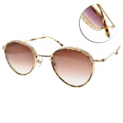 MATSUDA太陽眼鏡 手工雕花圓框款/琥珀金-棕 #M3070 TOT-BG