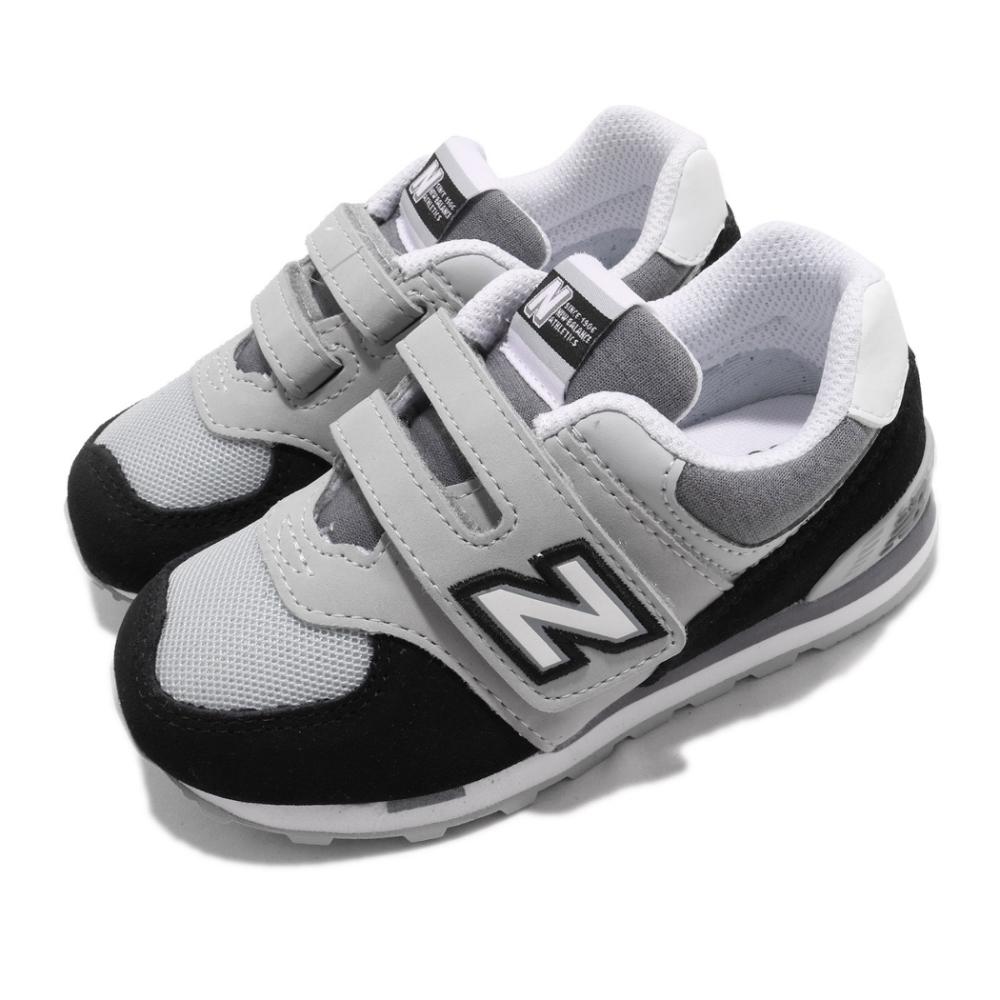 New Balance 休閒鞋 574 Wide 寬楦 運動 童鞋 紐巴倫 基本款 魔鬼氈 舒適 小童 穿搭 灰 黑 IV574NLCW