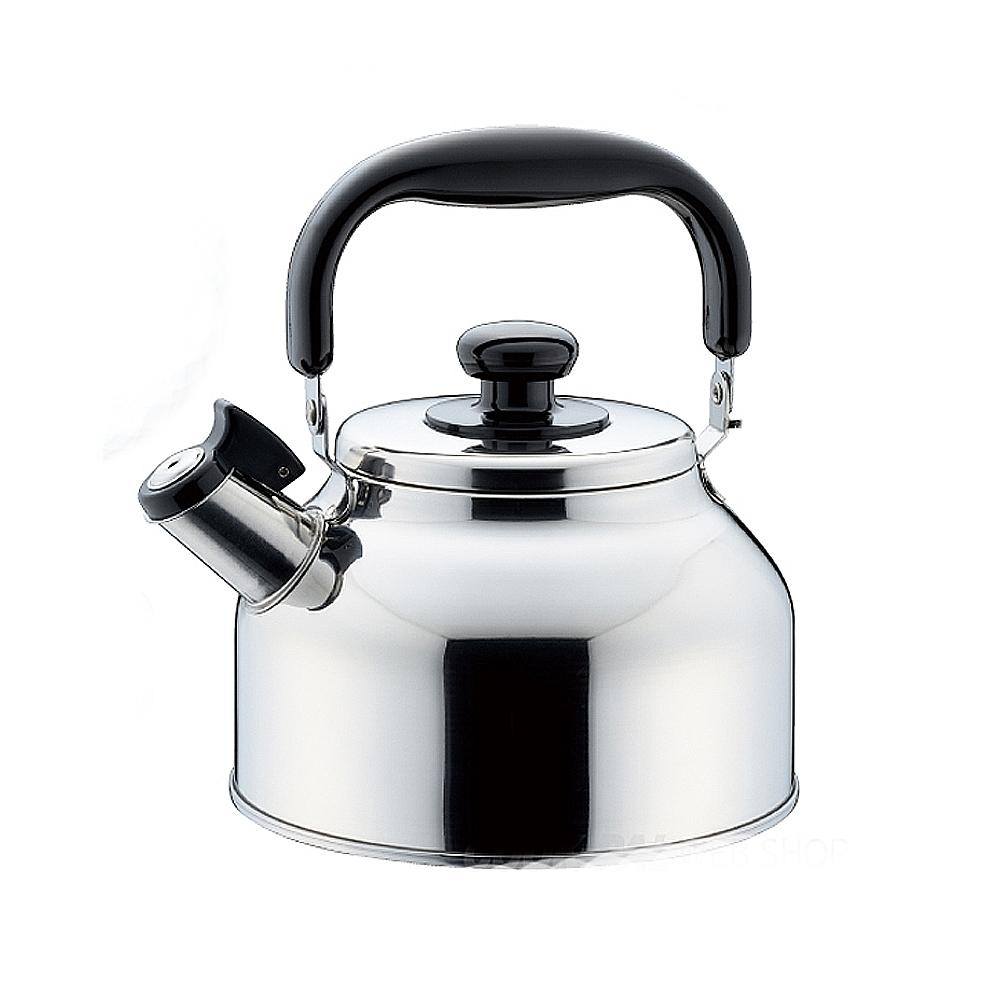 NEW PLEAL 日本進口不鏽鋼寬口笛音茶壺2.6L(黑柄)