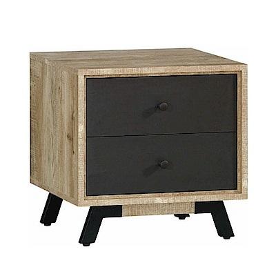 品家居 辛西亞1.7尺木紋雙色二抽床頭櫃-52x40x51cm-免組