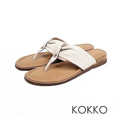 KOKKO - 簡約風尚抓皺夾腳涼拖鞋 - 珍珠白