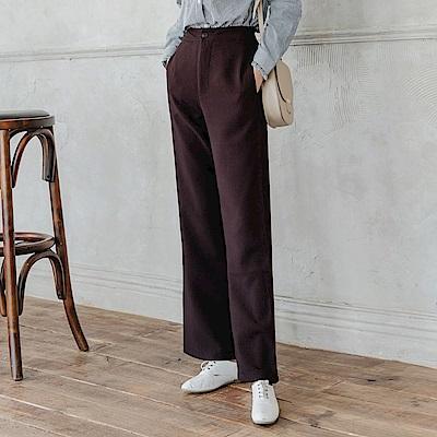 不易皺純色西裝直筒褲-OB大尺碼