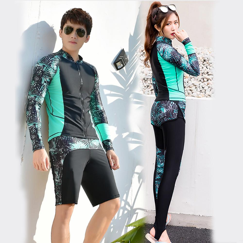 Biki比基尼妮泳衣   椰光拉鍊長袖泳衣情侶外套沖浪衣(男購買區)