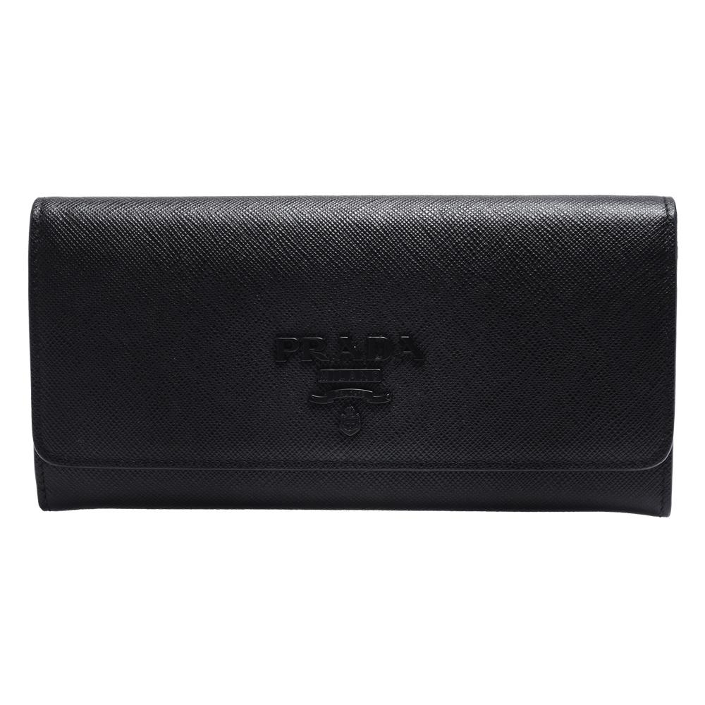 PRADA SAFFIANO系列黑色浮雕LOGO防刮牛皮雙釦長夾(黑-附車票夾)