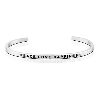 MANTRABAND Peace Love Happiness和平愛幸福 悄悄話銀色手環
