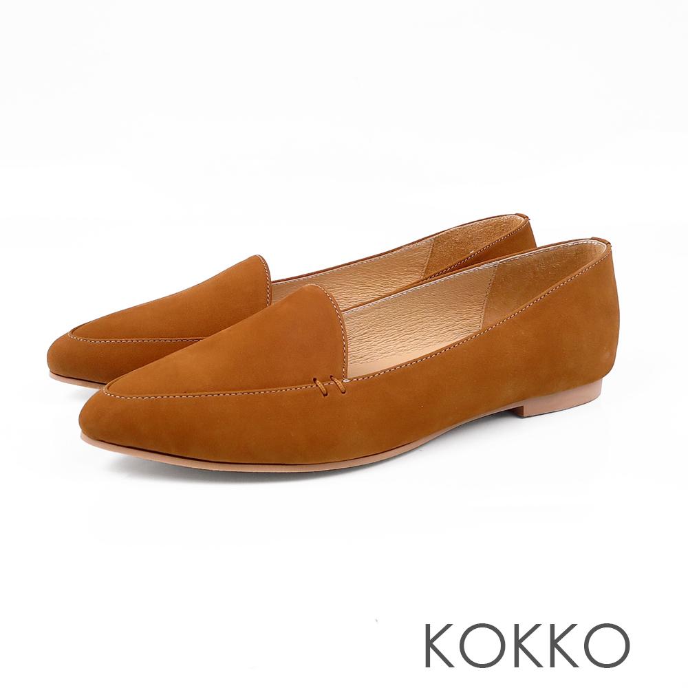 KOKKO -勇敢前進吧尖頭柔軟彎折樂福鞋-堅定棕