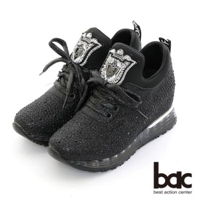 【bac】閃耀亮鑽舒適綁帶厚底休閒鞋-黑