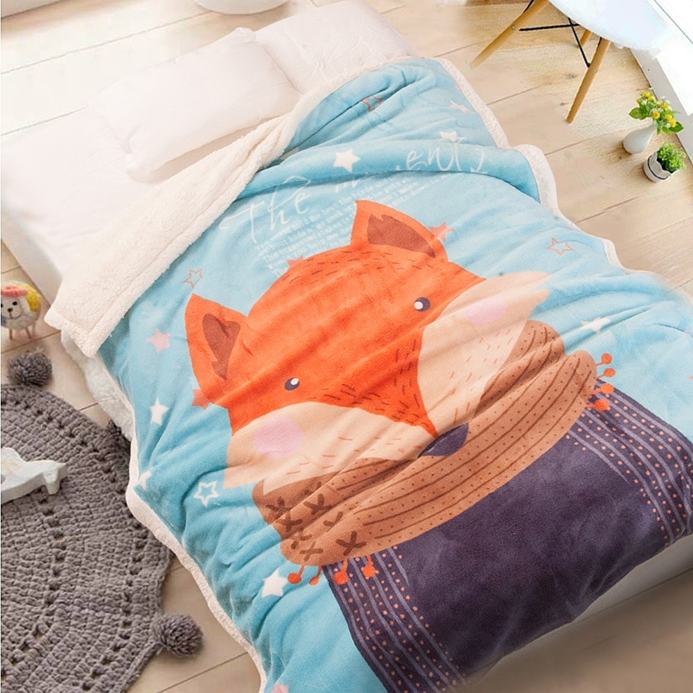 Carolan  圍巾狐狸 雙層加厚 法萊/羊羔絨童毯(100x140cm)