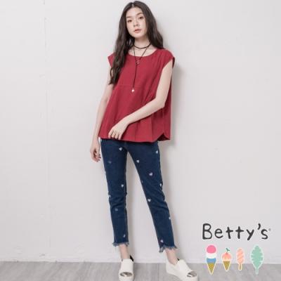 betty's貝蒂思 愛心繡線抽鬚褲管造型牛仔褲(深藍)