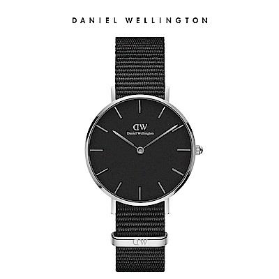 DW 手錶 官方旗艦店 32mm銀框 Classic Petite 寂靜黑織紋錶