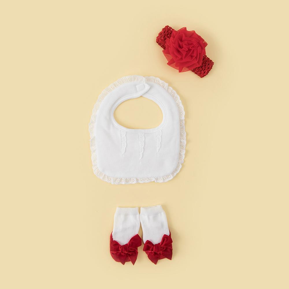 美國FMC X日安朵朵 女嬰配件禮盒 - 復古女伶 (圍兜+髮帶+寶寶襪)